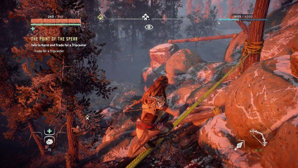 HZD gameplay - Aloy walking on a rope