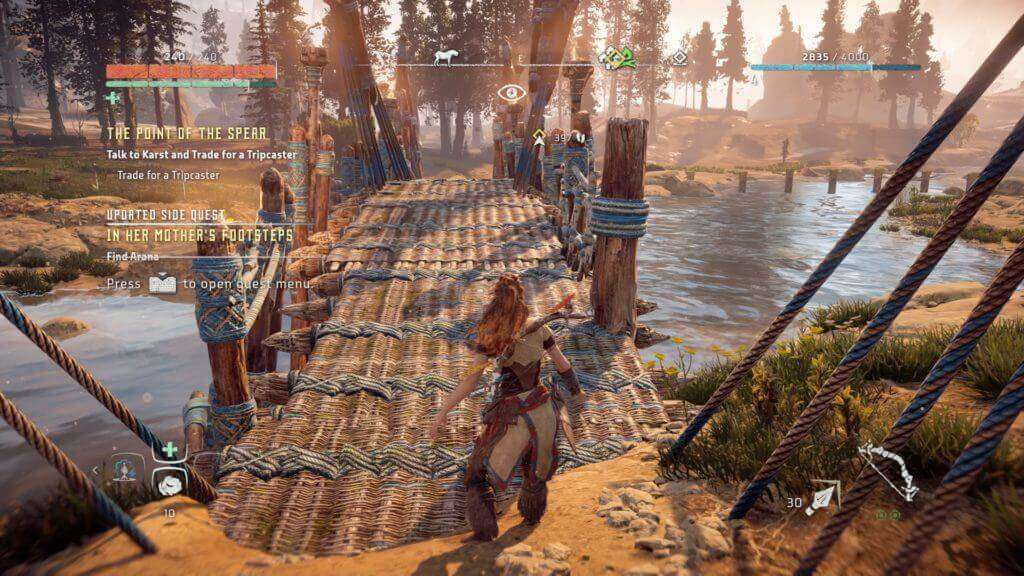 horizon zero dawn over the bridge