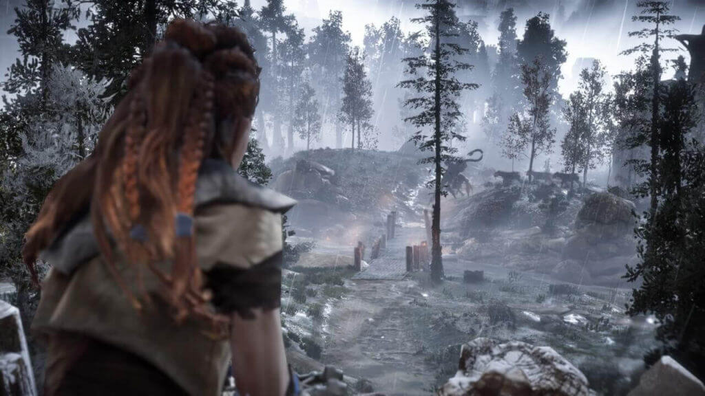 Aloy watching the corrupted machines attacking the castle