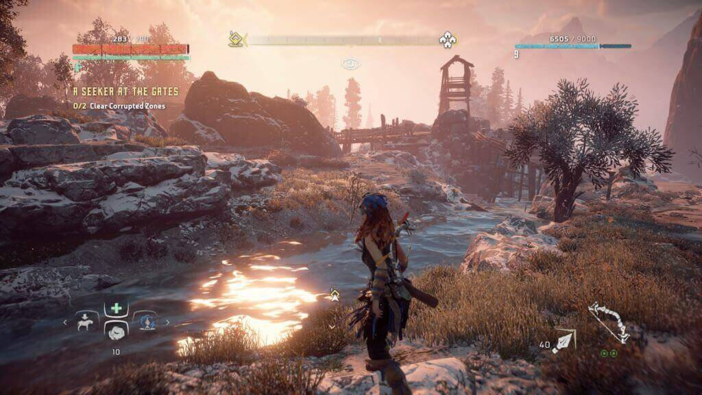 horizon zero dawn gameplay near the river