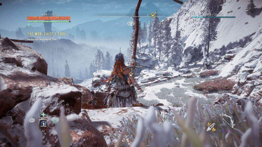 horizon zero dawn gameplay in the snow mountain