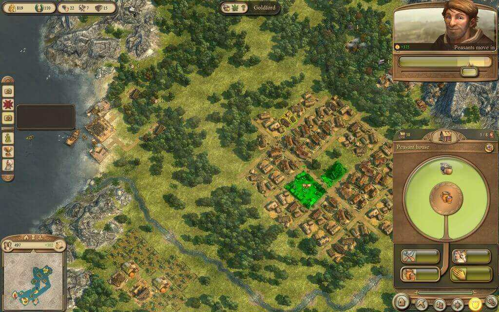 A game screenshot from Anno 1404 in bird-eye view: Peasants move in because they are happy.