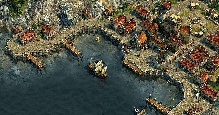 A flag ship at Lord Northburgh's harbor (real game scene, not an art)