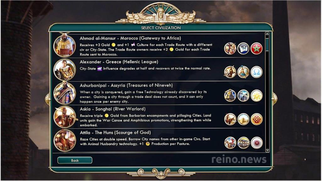 Choose an empire to begin the game in Civilization V.