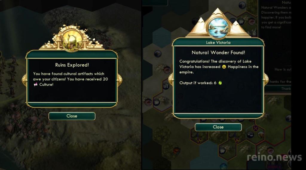 Exploring natural Wonder and Ruins in Civilization V