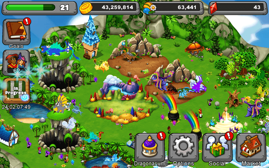 A corner of my park in DragonVale.