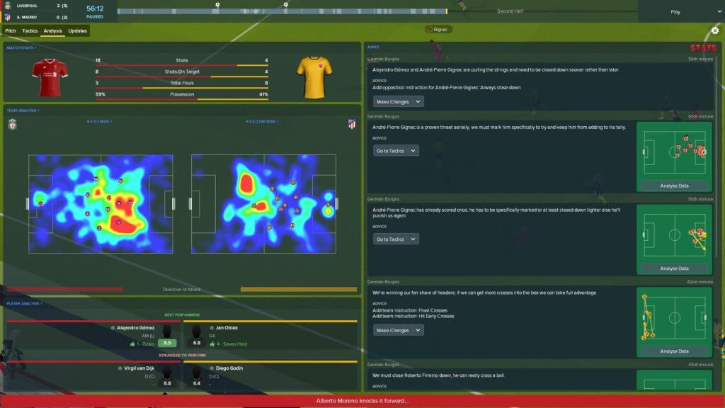 Football Manager 2018 provides more statistical data for in-game analytics, for example the heatmap.