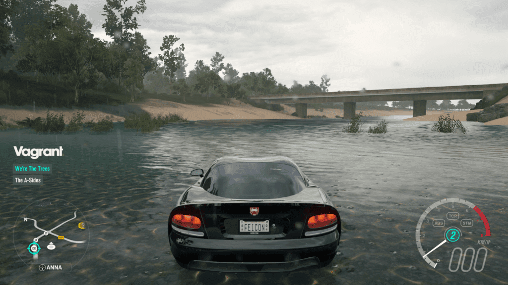 Stopping the car in a river