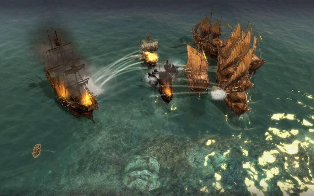 A sea battle in Anno 1404.