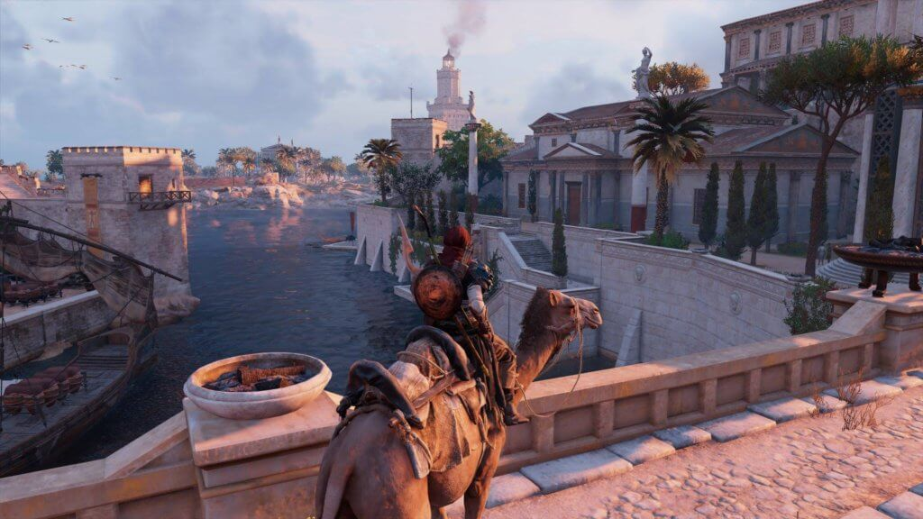 assassin creed origin gameplay camel ride in city center bridge