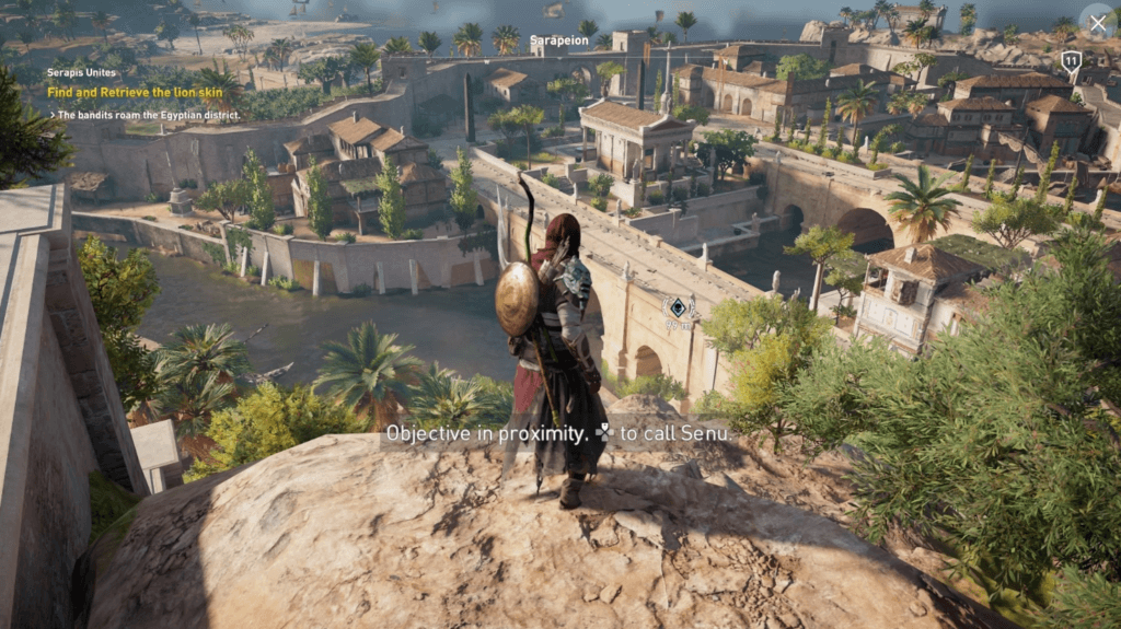 Assassin Creed Origins gameplay: Calling Senu to help you see inside the castle where your objective is located