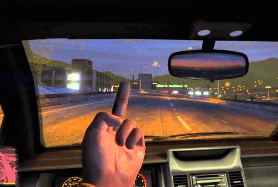 showing middle finger in grand theft auto v