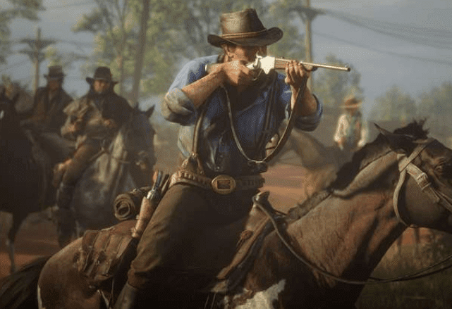red dead redemption 2 gameplay riding horse shooting