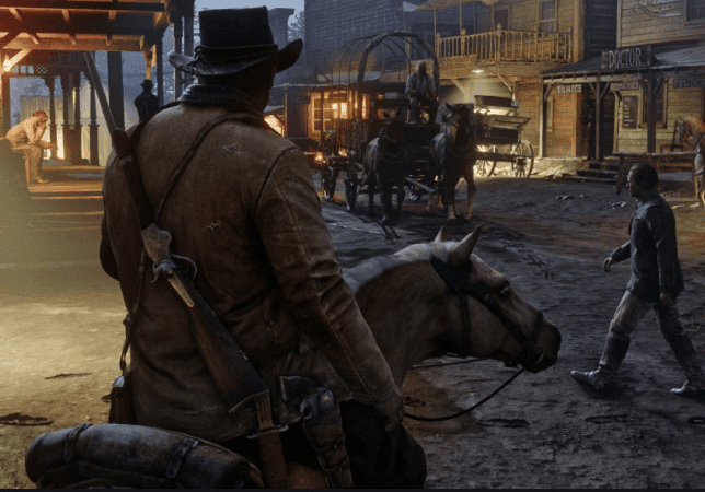 red dead redemption 2 john marston riding horse in wild west town