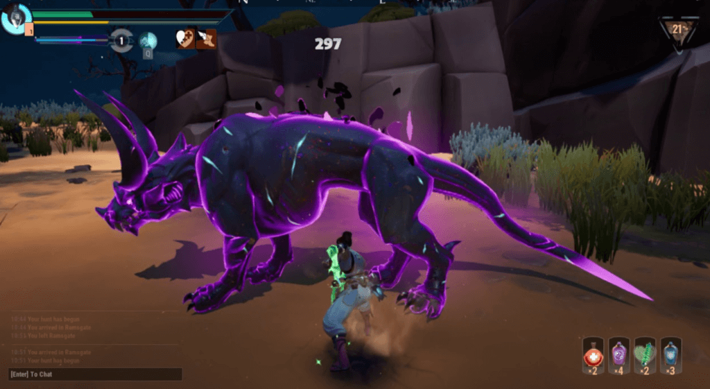 Dauntless gameplay with dinosaur