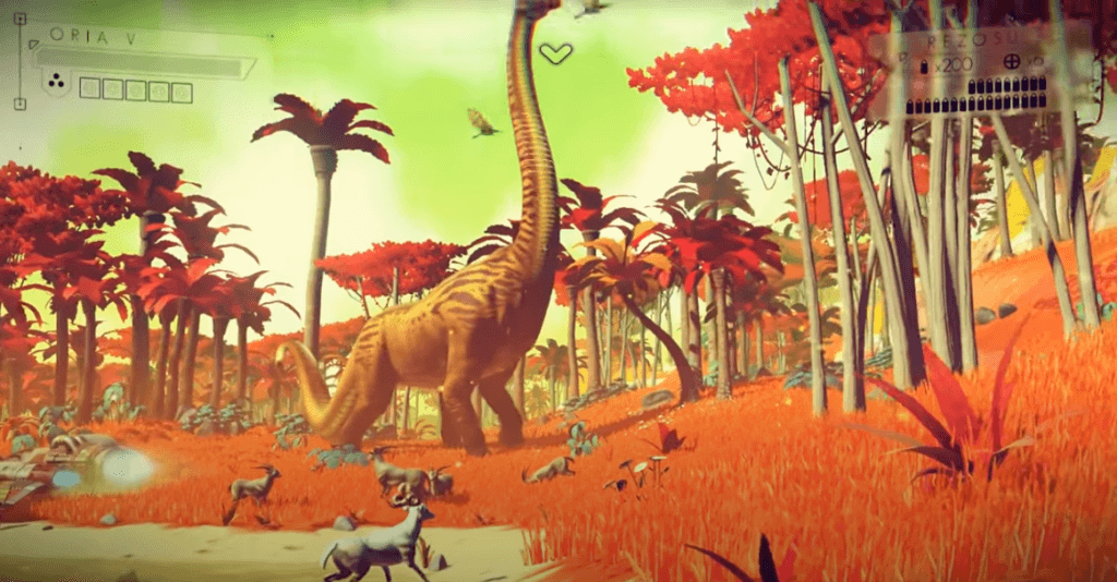 No Man's Sky gameplay with dinosaurs
