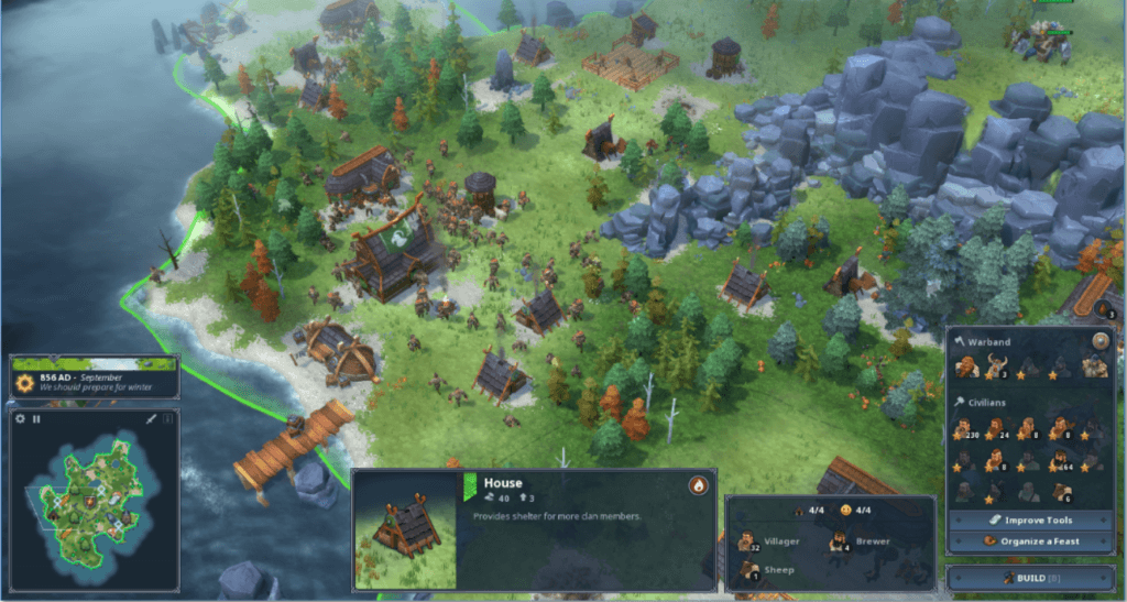 Northgard gameplay city-building game