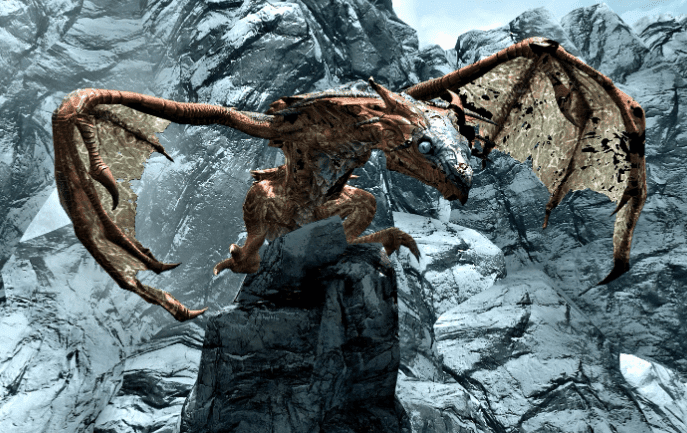 skyrim dragon on an icy mountain