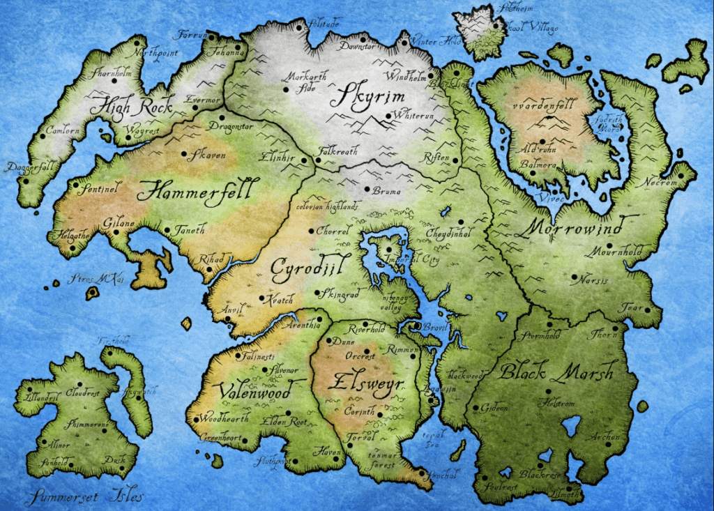 tamriel map in skyrim