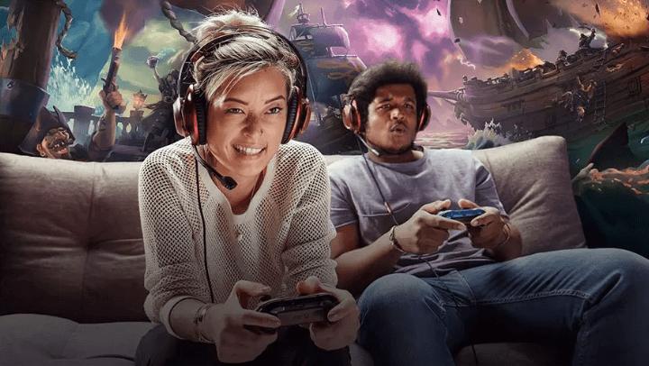 gaming on sofa
