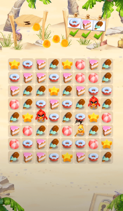 Angry Bird Match gameplay with cute puzzle pieces such as Candy Crush