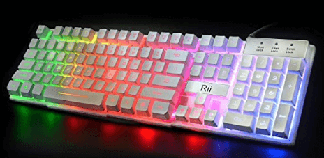 Rii RK100+ White Gaming Keyboard With Multiple Colors Rainbow LED Backlit - one of the best white gaming keyboards
