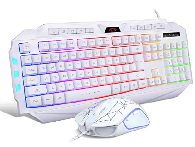 White Gaming Keyboard and Mouse Combo